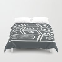 camping Duvet Covers featuring Camping [Reversed] by Corina Rivera Designs