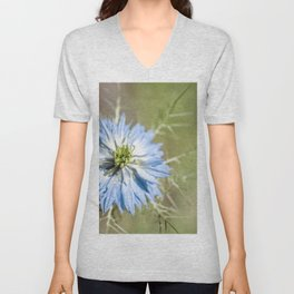 Blue flower close up Nigella love in the mist Unisex V-Neck