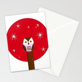 Owl ( alternative red version) Stationery Cards