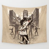 zombies Wall Tapestries featuring Zombies by Ronan Lynam