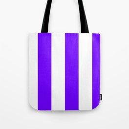 Wide Vertical Stripes - White and Indigo Violet Tote Bag