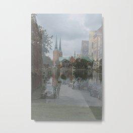 Blending photograps - town and lake Metal Print