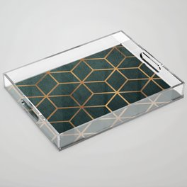 Dark Teal and Gold - Geometric Textured Gradient Cube Design Acrylic Tray