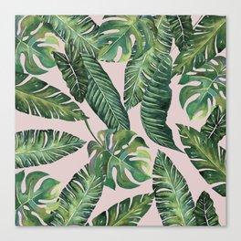 Jungle Leaves, Banana, Monstera Pink #society6 Canvas Print