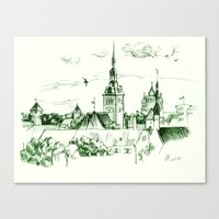 medieval Canvas Prints featuring Medieval landscape. by LaDa