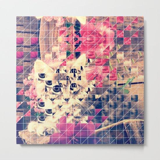 SWEET KITTEN WITH FLOWERS (TRIANGLES) Metal Print