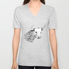 TAURUS - bull - zodiac doodle series abstract Unisex V-Neck
