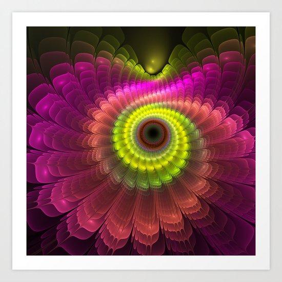 Curling up fantasy flower Art Print