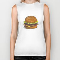burger Biker Tanks featuring Burger by RedNoseBlueCheeks