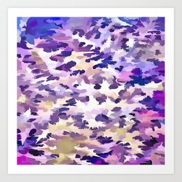 Foliage Abstract Camouflage In Pale Purple and Violet Pastels Art Print