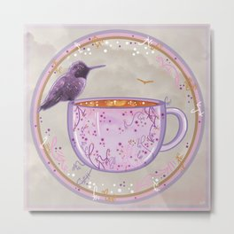 Hummingbird and Coffee Metal Print