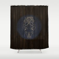 skyrim Shower Curtains featuring Shield's of Skyrim - Falkreath by VineDesign