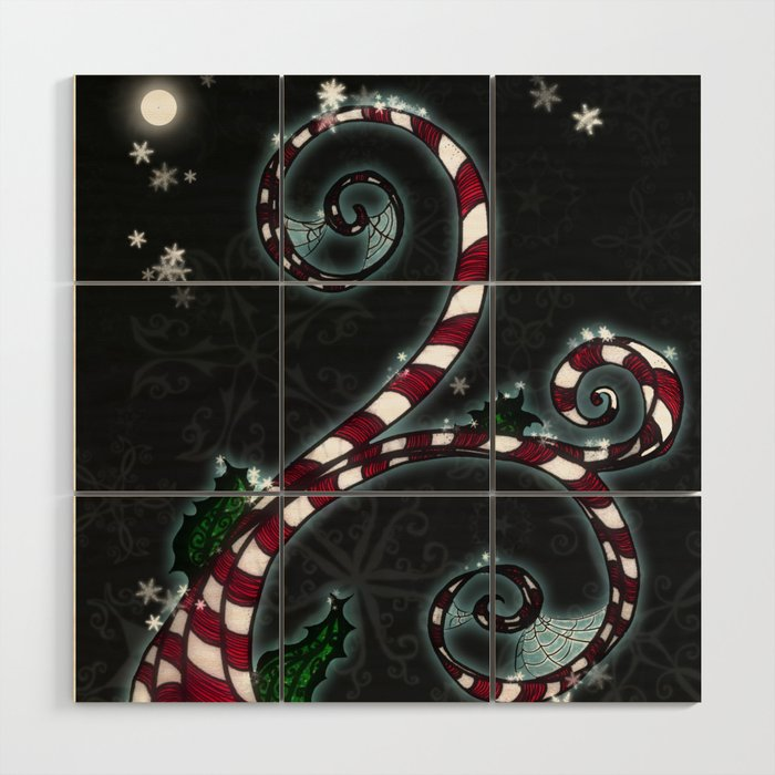 Candy Cane Vine Wood Wall Art By Darkdecors Society6