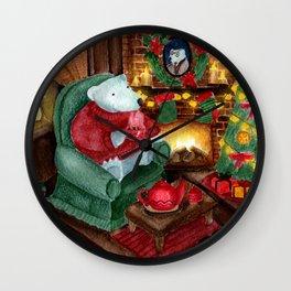 Polar bear. Watercolor Christmas art Wall Clock