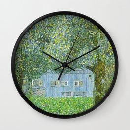 Klimt - Farmhouse in Upper Austria (new editing) Wall Clock