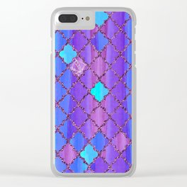 Moroccan Tile Pattern In Purple And Aqua Blue Clear iPhone Case