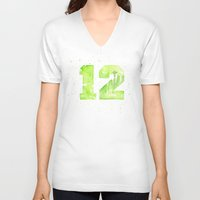 seahawks V-neck T-shirts featuring 12th Man Seattle Art by Olechka