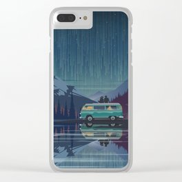 Retro Camping under the stars Clear iPhone Case