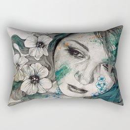 Cleopatra's Sling (flower tattoo lady portrait drawing) Rectangular Pillow