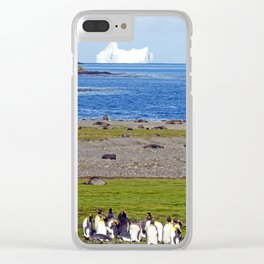 King Penguins on the beach with an Iceberg behind Clear iPhone Case