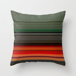 Bold Orange Green Stripes Throw Pillow