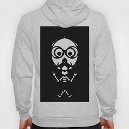 old skinny skull and bone with glasses in black and white Hoody
