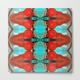 Color Chant - Red And Aqua Pattern Art By Sharon Cummings Metal Print