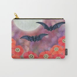 moonlit black bats and poppies Carry-All Pouch
