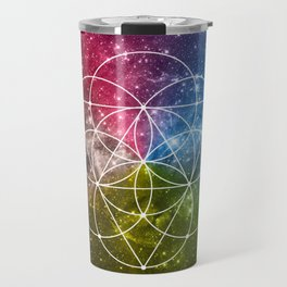 Seed of Life with Triangles - Sacred Geometry - Rainbow Colors - Galaxy Art - Universe - Yoga - Travel Mug