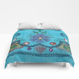 Kantha Fabric Art On Turquoise Pure Silk Comforters