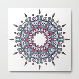 Pinkish Turquoise 12 Mandala Metal Print