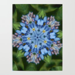 Fluid Nature - Forget Me Not - Abstract Kaleidoscope Poster