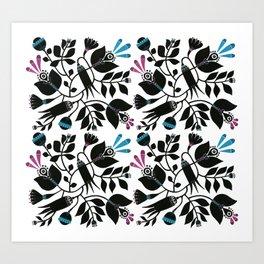 Black florals Art Print