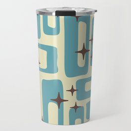 Retro Mid Century Modern Abstract Pattern 577 Blue Brown Travel Mug