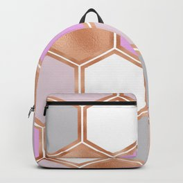 Bright sunrise rose gold geometric Backpack