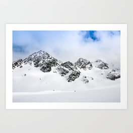 Switzerland mountains covered in snow in the winter blue skies Art Print