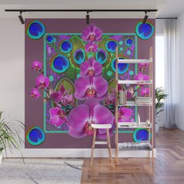 Puce Purple Pink Orchids Blue Peacock Feather Eyes Wall Mural