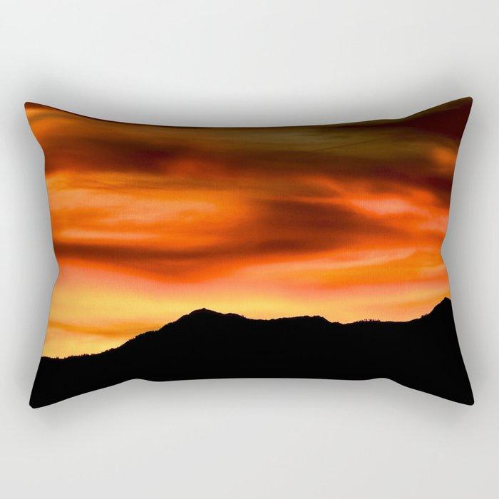 SW Orange Mountain Sunrise - II Rectangular Pillow
