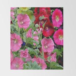 DECORATIVE PINK & RED GARDEN HOLLYHOCKS Throw Blanket