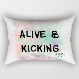 Alive & Kicking Motivational Art - Black, Green, Orange, Pink Rectangular Pillow