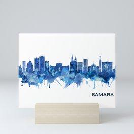 Samara Russia Skyline Blue Mini Art Print