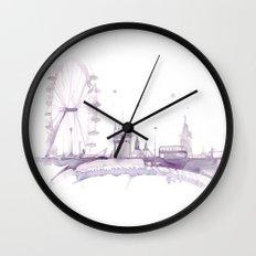 Watercolor landscape illustration_London Eye Wall Clock