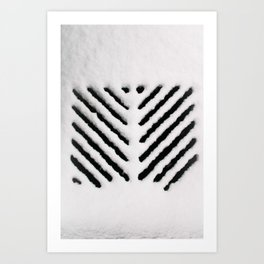 Snowy Manhold Cover in Black & White Art Print