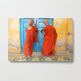 Buddhist monks, fun at the monastery Metal Print