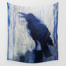Contemporary Blue Raven Weather Abstract Painting  Wall Tapestry