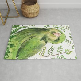 Kakapo in the ferns Rug