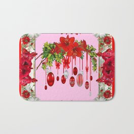 RED AMARYLLIS FLOWERS & HOLIDAY ORNAMENTS PINK DECOR Bath Mat