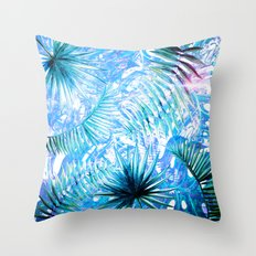 Aloha- Blue abstract Tropical Palm Leaves and Monstera Leaf Garden Throw Pillow