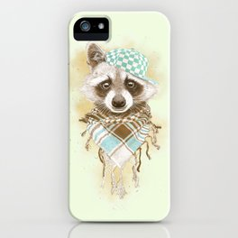 Rocco Raccoon - earth tones iPhone Case