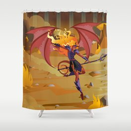 female demon with trident Shower Curtain